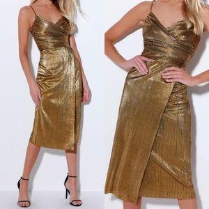 Love and Luxury Gold Pleated Surplice Midi Dress